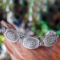 Sterling silver link bracelet, 'Karimunjawa Islands' - Ornate Indonesian Silver Link Bracelet