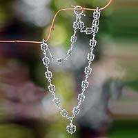 Sterling silver link necklace, 'Fleur de Lis' - Balinese Silver Link Necklace for Women