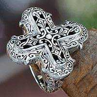 Sterling silver cross ring, 'Glorious Faith' - Ornate Sterling Silver Cross Ring from Bali
