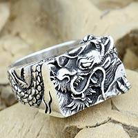 Men's sterling silver ring, 'Ancient Dragon' - Men's Sterling Silver Dragon Ring