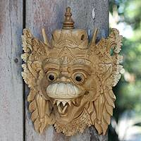 Wood mask, 'Basuki Dragon' - Artisan Carved Dragon Mask