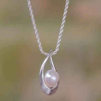 Pearl pendant necklace, 'White Symphony' - Pearl and Silver Pendant Necklace