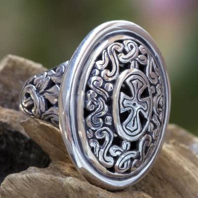 om ring silver reef spa - Balinese Sterling Silver Cocktail Ring