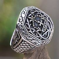 Men's sterling silver signet ring, 'Cardinal' - Men's Sterling Silver Cross Signet Ring