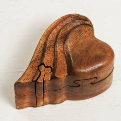 Wood puzzle box, 'Flying Heart' - Heart-shaped Wood Puzzle Box