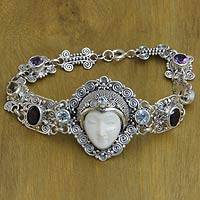 Multi-gemstone link bracelet, 'Noble Lady' - Multi-gemstone and Carved Bone Link Bracelet from Bali