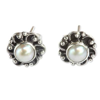 Sterling Silver and Pearl Flower Stud Earrings