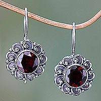 Garnet drop earrings, 'Singaraja Sunflower Red' - Silver and Garnet Sunflower Drop Earrings from Bali