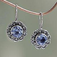 Blue topaz drop earrings, 'Singaraja Sunflower Blue' - Balinese Blue Topaz Sunflower Drop Earrings