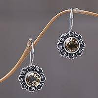Citrine drop earrings 'Singaraja Sunflower Yellow' - Sterling Silver and Citrine Sunflower Drop Earrings