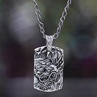 Men's silver pendant necklace, 'Ancient Dragon' - Men's Silver Dragon Pendant Necklace from Bali