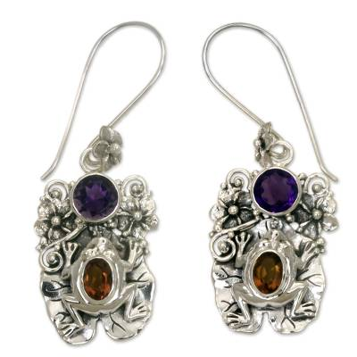 Amethyst and Citrine Frog Dangle Earrings