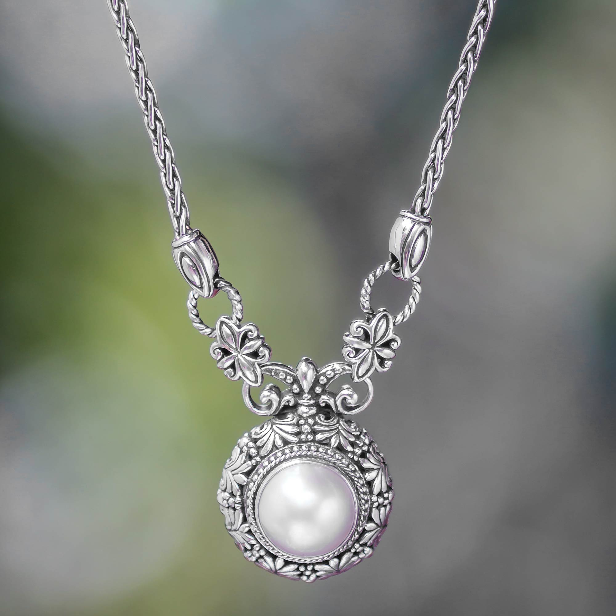 Mabe Pearl Necklace: Mabe Pearl And Sterling Silver Pendant