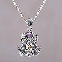 Amethyst and citrine pendant necklace, 'Rainforest Frog' - Amethyst and Citrine Frog Pendant Necklace from Bali