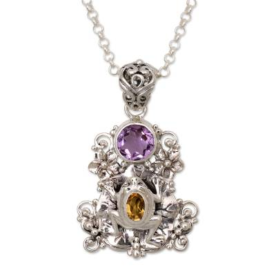 Amethyst and Citrine Frog Pendant Necklace from Bali