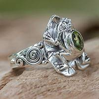 Peridot cocktail ring, 'Green Rainforest Frog' - Peridot and silver frog cocktail ring