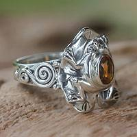 Citrine cocktail ring, 'Golden Rainforest Frog' - Citrine and Silver Frog Cocktail Ring