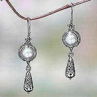 Cultured pearl dangle earrings, 'Summer Serenity' - Artisan Crafted Cultured Pearl Dangle Earrings
