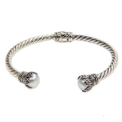 Cultured Pearl and Sterling Silver Cuff Bracelet from Bali