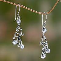 Cultured pearl dangle earrings, 'Singaraja Vines' - Sterling Silver and Cultured Pearl Dangle Earrings