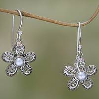 Cultured pearl flower earrings, 'White Forget-Me-Not' - Pearl and Sterling Silver Flower Dangle Earrings