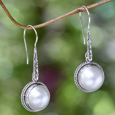 Cultured pearl dangle earrings, 'White Camellia' - Cultured Mabe Pearl Dangle Earrings from Bali