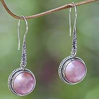 Cultured pearl dangle earrings, 'Balinese Camellia' - Balinese Cultured Pink Pearl Dangle Earrings