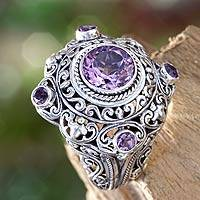 Amethyst cocktail ring, 'Mahameru Purple' - Amethyst and Silver Cocktail Ring from Bali
