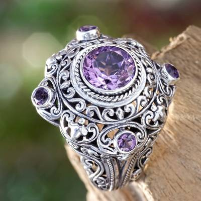Amethyst and Silver Cocktail Ring from Bali