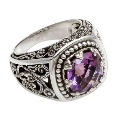 Four Carat Amethyst and Sterling Silver Ring from Bali
