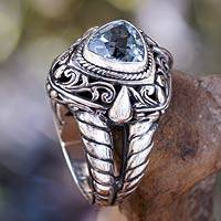 Blue topaz cocktail ring, 'Sky Sorceress' - Artisan Crafted Blue Topaz Cocktail Ring
