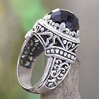 Onyx cocktail ring, 'Midnight Queen' - Onyx and Silver Cocktail Ring from Bali