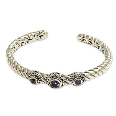 Amethyst and Sterling Silver Cuff Bracelet from Bali