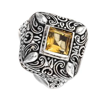 Square Citrine and Sterling Silver Cocktail Ring from Bali