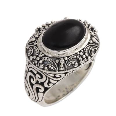 Onyx Cabochon and Sterling Silver Cocktail Ring from Bali