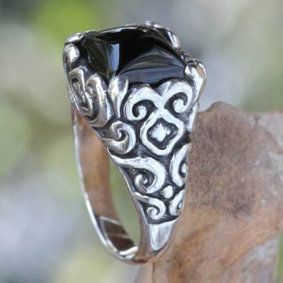 om ring silver fox wigs - Onyx and Sterling Silver Cocktail Ring from Bali