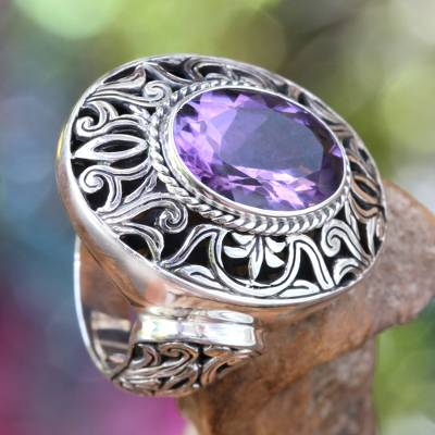 men's christian rings sterling silver - Amethyst and Sterling Silver Cocktail Ring from Bali