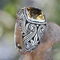Citrine cocktail ring, 'Flash Fire' - Balinese Citrine and Sterling Silver Cocktail Ring