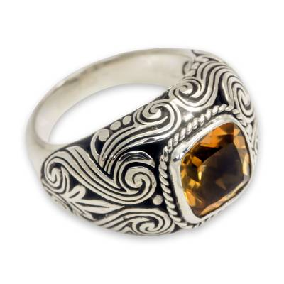 Balinese Citrine and Sterling Silver Cocktail Ring