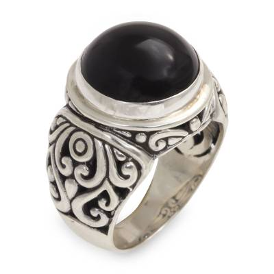 Onyx and Sterling Silver Cocktail Ring from Bali
