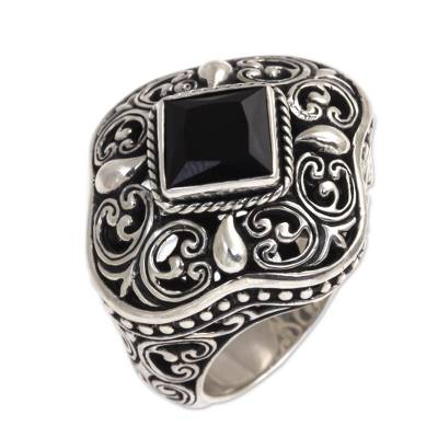 Indonesian Onyx and Sterling Silver Cocktail Ring