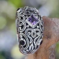 Amethyst cocktail ring, 'Purple Fern Garden' - Handcrafted Domed Amethyst Cocktail Ring from Bali