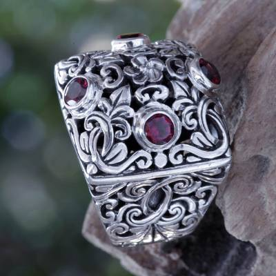 silver opal zodiac ring - Garnet and Sterling Silver Domed Cocktail Ring