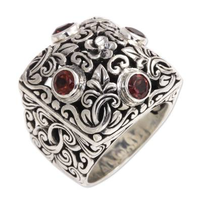 Garnet and Sterling Silver Domed Cocktail Ring