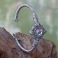 Prasiolite and peridot cuff bracelet,