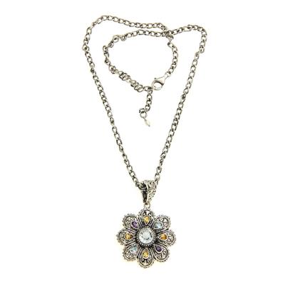 Multi-gemstone Flower Pendant Necklace from Bali