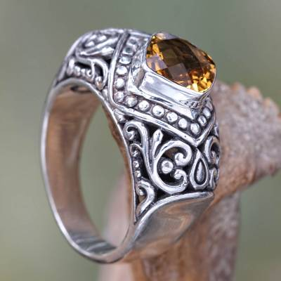 Citrine cocktail ring, 'Festive Bali' - Handcrafted Citrine and Sterling Silver Cocktail Ring