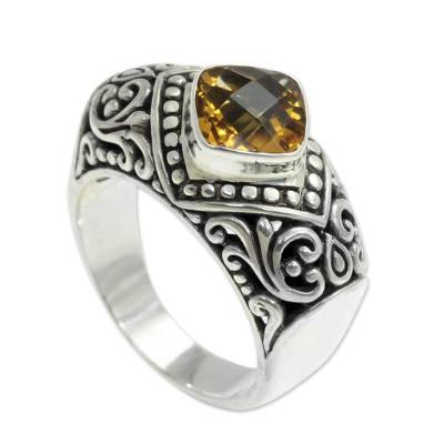 Handcrafted Citrine and Sterling Silver Cocktail Ring