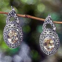Citrine dangle earrings, 'Gracious Sunset' - Citrine and Sterling Silver Dangle Earrings from Bali