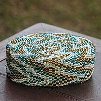 Beaded ate grass basket, Hypnotic Waves